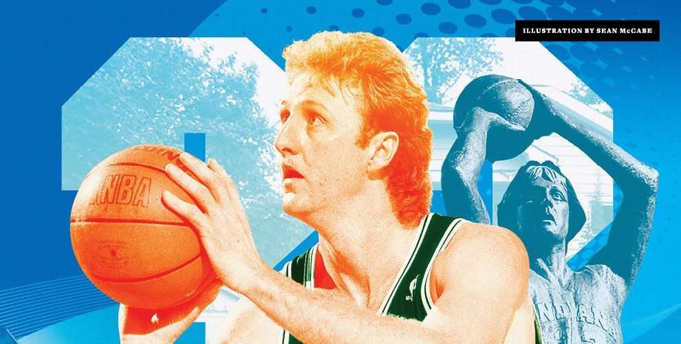 Larry Bird shooting with an illustration behind