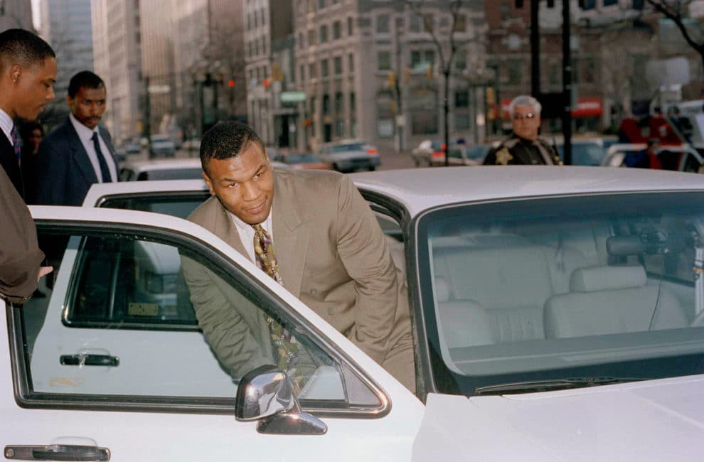 Mike Tyson leaving police car in Indianapolis