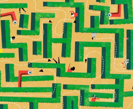 Illustration of corn maze by Nate Kitch