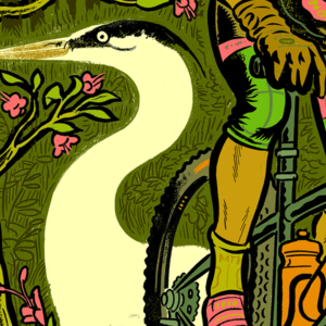 Illustration of a cyclist riding on a trail that also looks like a crane.