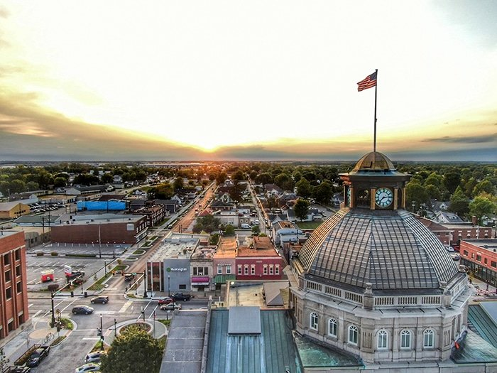 Aerial view of Downtown Lebanon, Indiana
