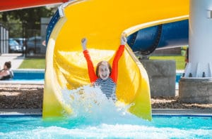 Girl enjoys the waterslides at the Seashore Water Park